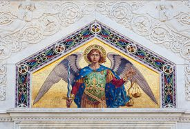 Mosaic of St. Michael the Archangel, Serbian Orthodox Temple of the SS. Trinity and St. Spyridon