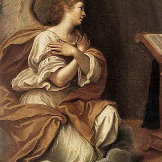 Detalle de La Anunciación por Francesco Albani