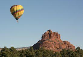 Hot air balloon flying