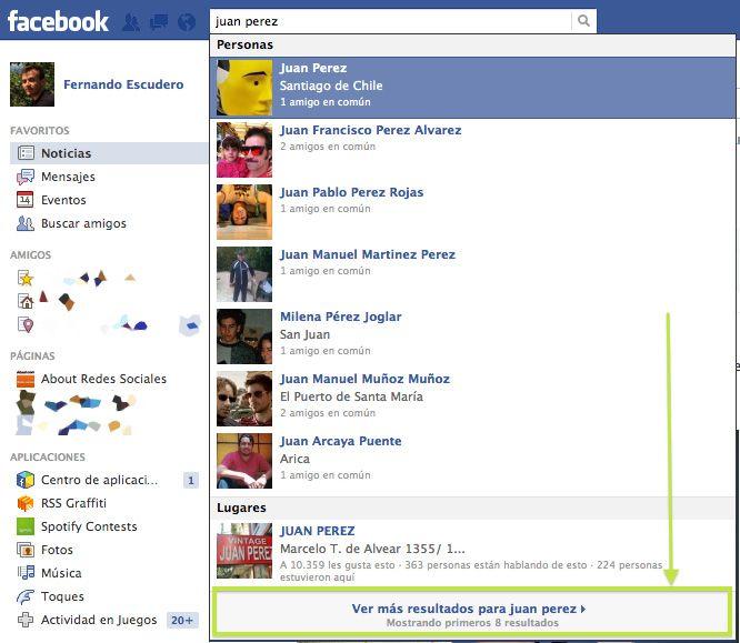 Cómo buscar personas en Facebook - Revisa los resultados