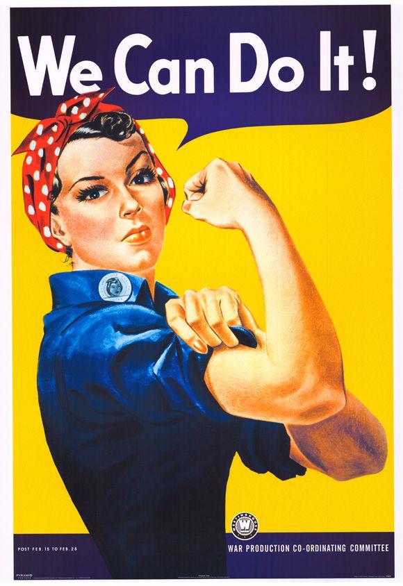 Cartel 'We can do it' con Rosie the Riveter, creado por J. Howard Miller, símbolo del feminismo.