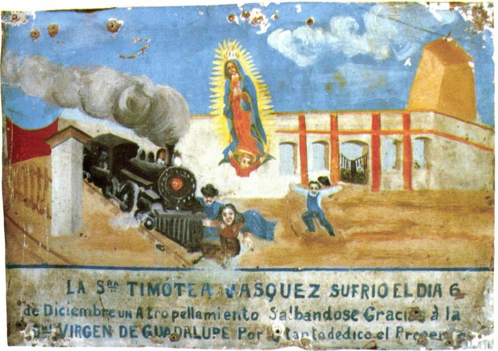 Exvoto a la Virgen de Guadalupe por salvar de un atropellamiento