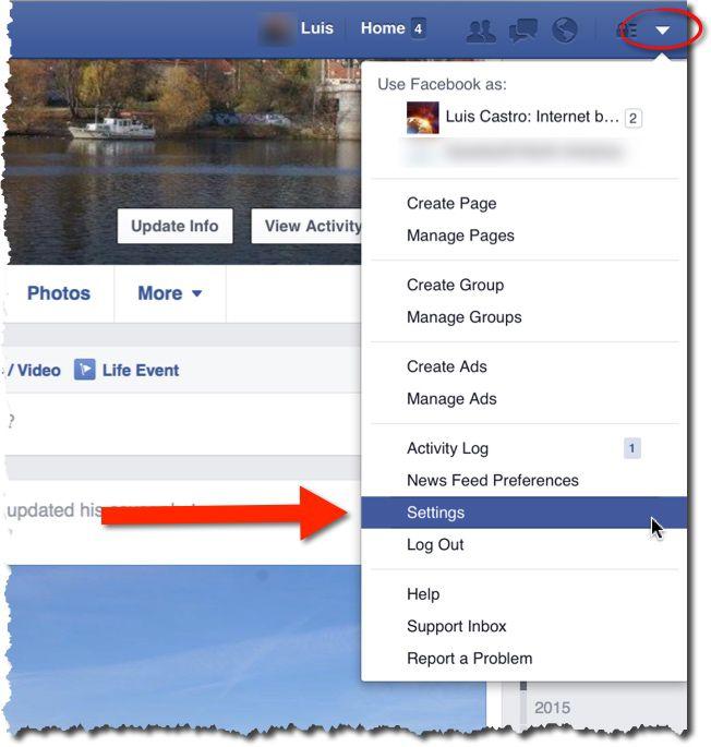 Accede a las opciones de tu cuenta de Facebook