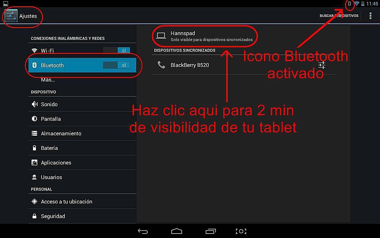 Como activar Bluetooth en tablet