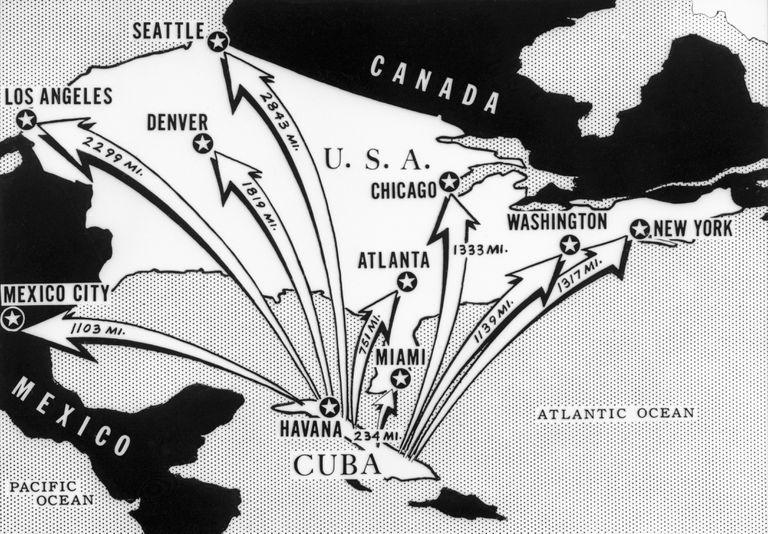 Mapa publicado durante la crisis de los misiles cubanos