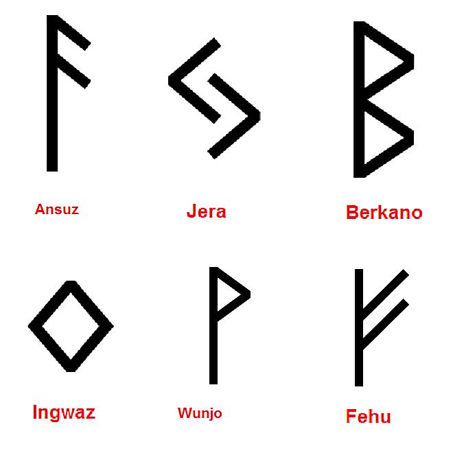 Fehu, Wunjo, Ansuz, Jera, Berkano e Ingwaz