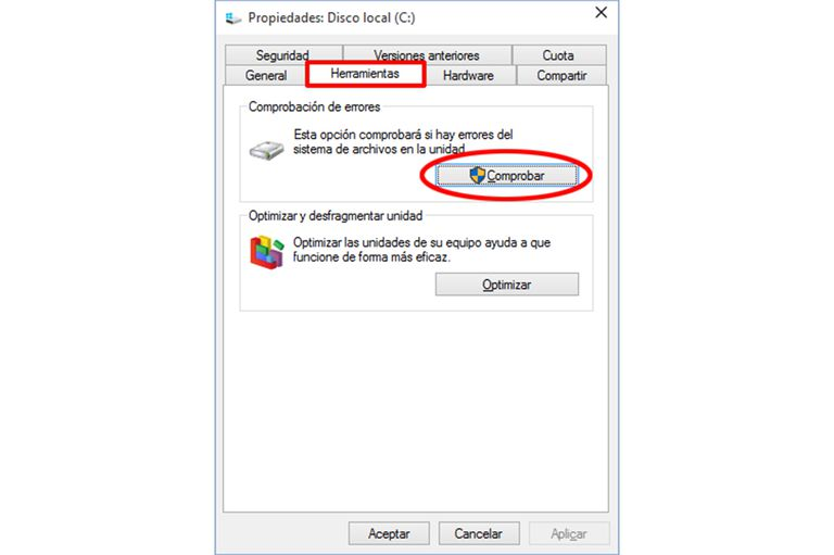 Comprobar Disco USB Windows10