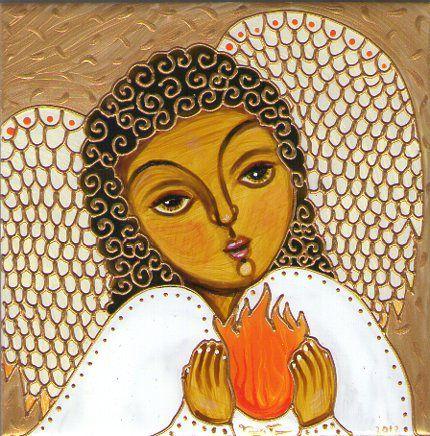 El arcángel Gabriel con el rayo naranja por Tanya Torres