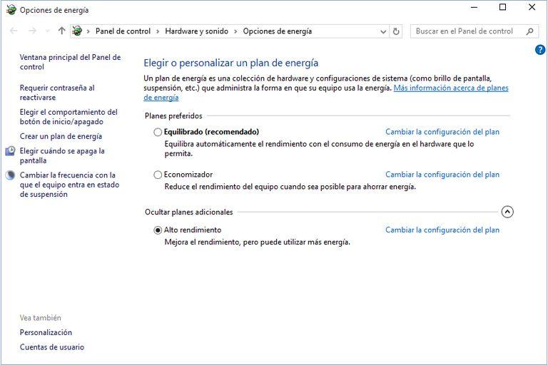 definir opciones de energía y rendimiento de windows 10