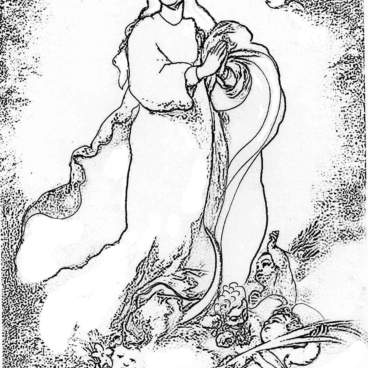 Dibujo de la Inmaculada Concepción de Murillo