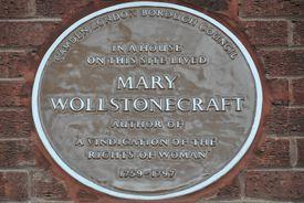 Placa conmemorativa en la vivienda de Mary Wollstonecraft en Camden, Londres.