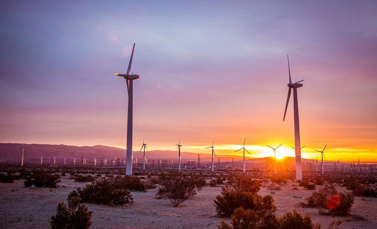 Planta de energía eólica en Palm Springs, California.