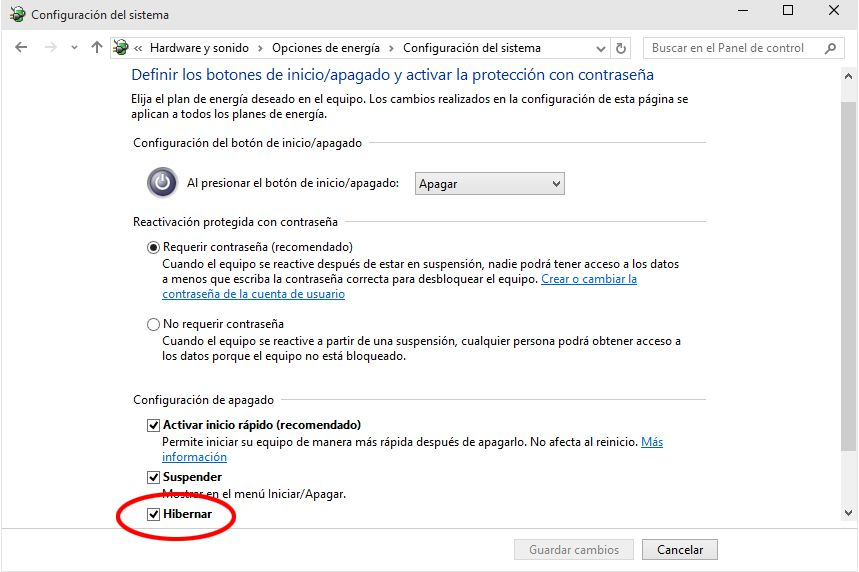 Hibernacion Windows 10