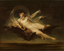 Ariel en la espalda de un murciélago