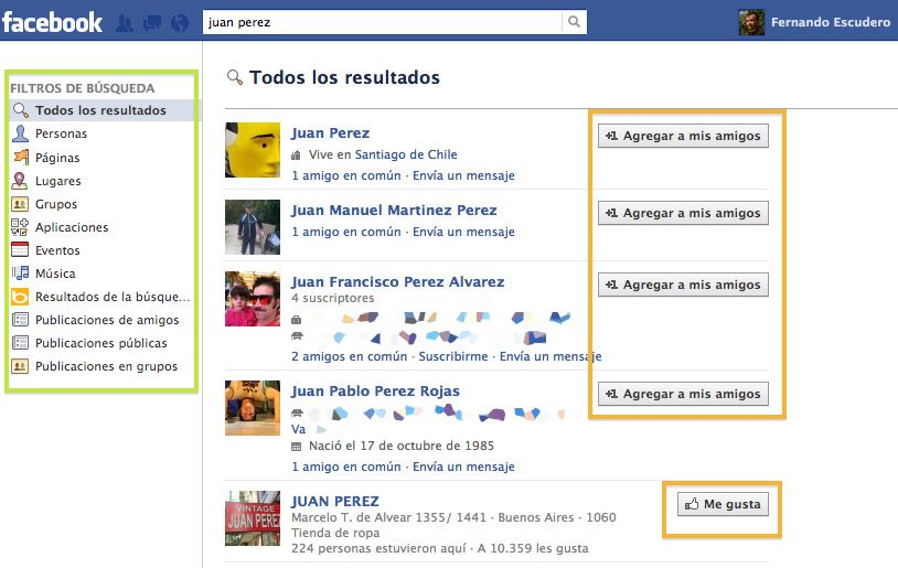 Cómo buscar personas en Facebook - Filtra los resultados y encuentra a quien buscas