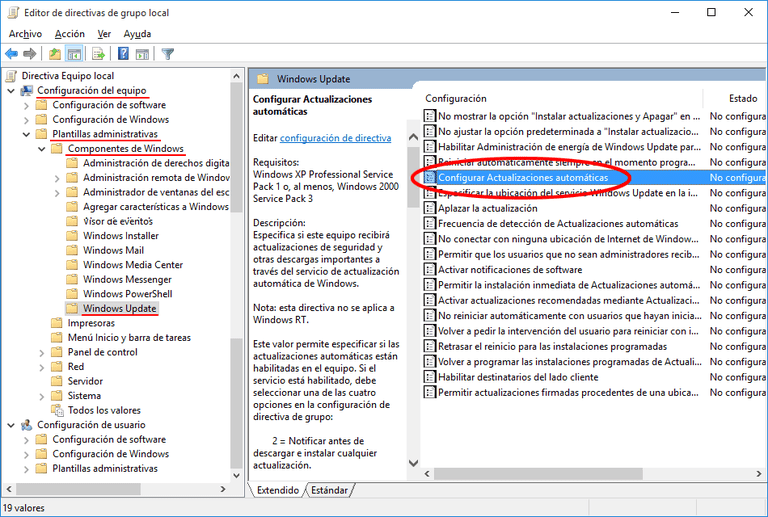 Desactiva las actualizaciones automáticas en Windows 10