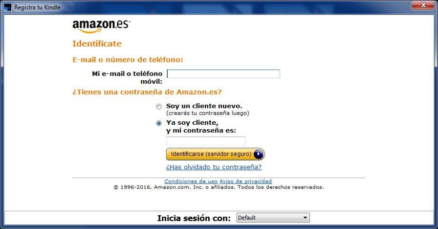 registro de la aplicación Kindle