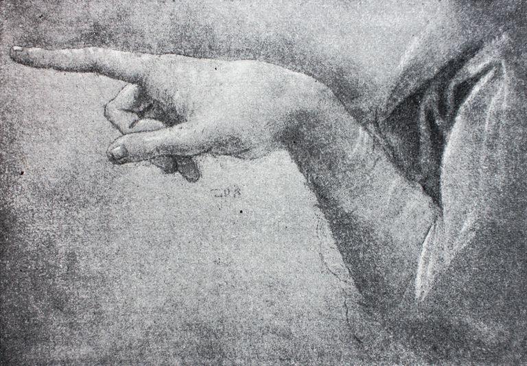 de la mano de Angel para la Virgen de las rocas de Leonardo da Vinci