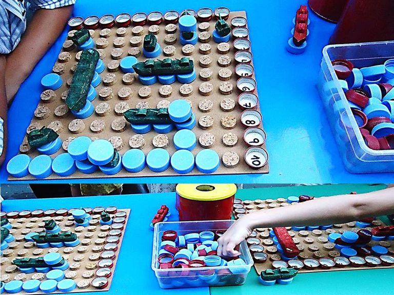 Materiales Juegos De 7 Reciclados Mesa Con wkn0OP