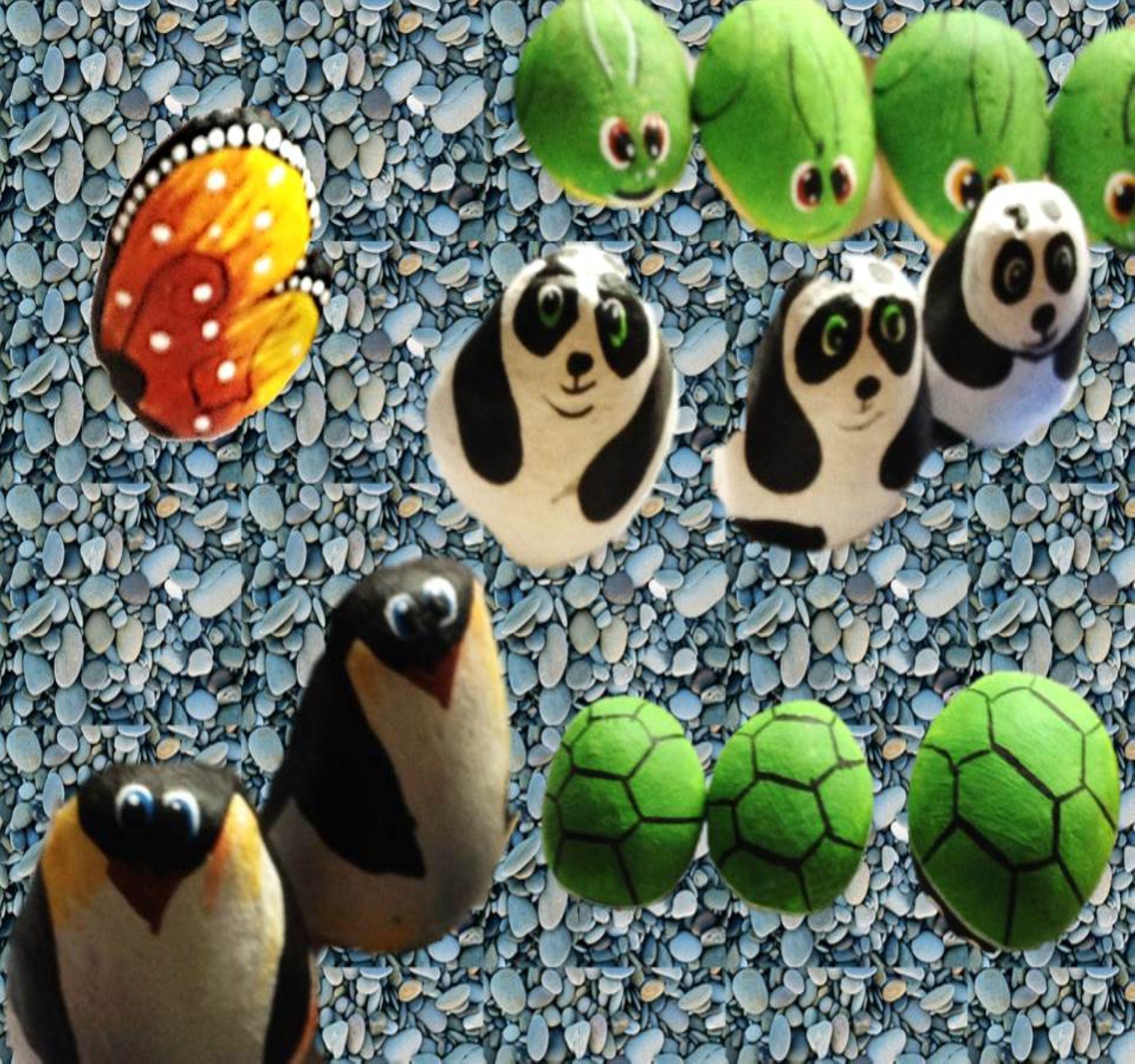 animales pintados en piedras