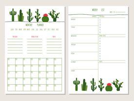 Planificador mensual además de plantillas de lista semanal