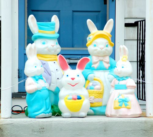 Picture of Easter Bunny family on doorstep. These Easter Bunnies light up.