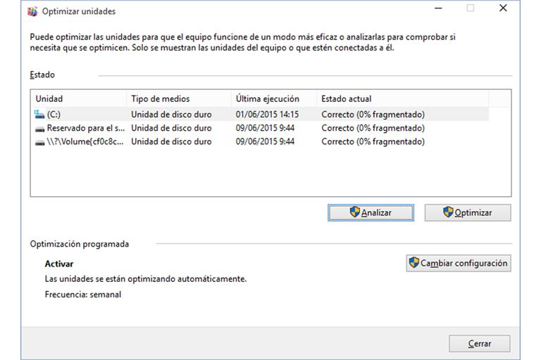 Desfragmentar Disco Windows10