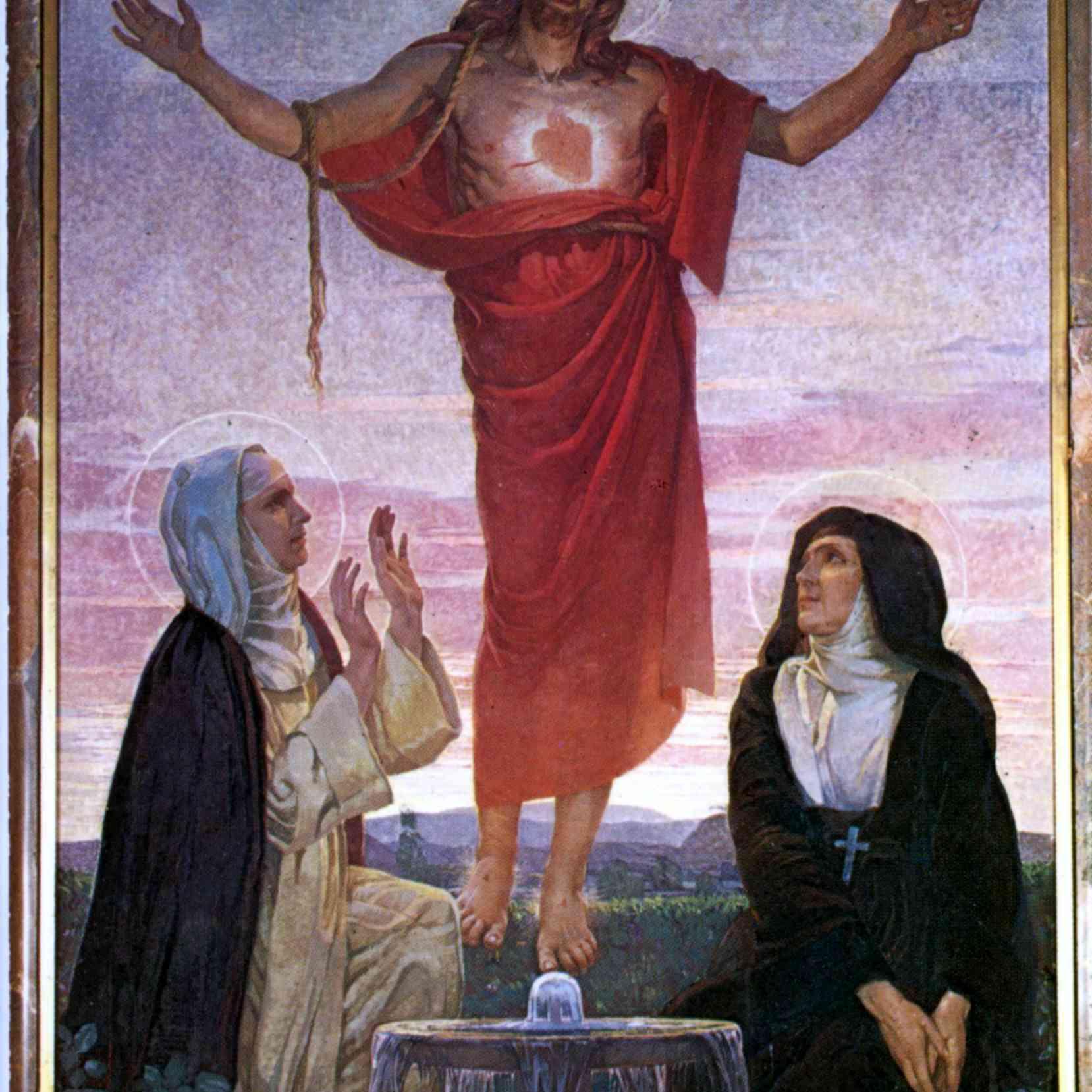 La Beata Madre María del Divino Corazón y Santa Margarita María Alacoque adorando el Sagrado Corazón de Jesús