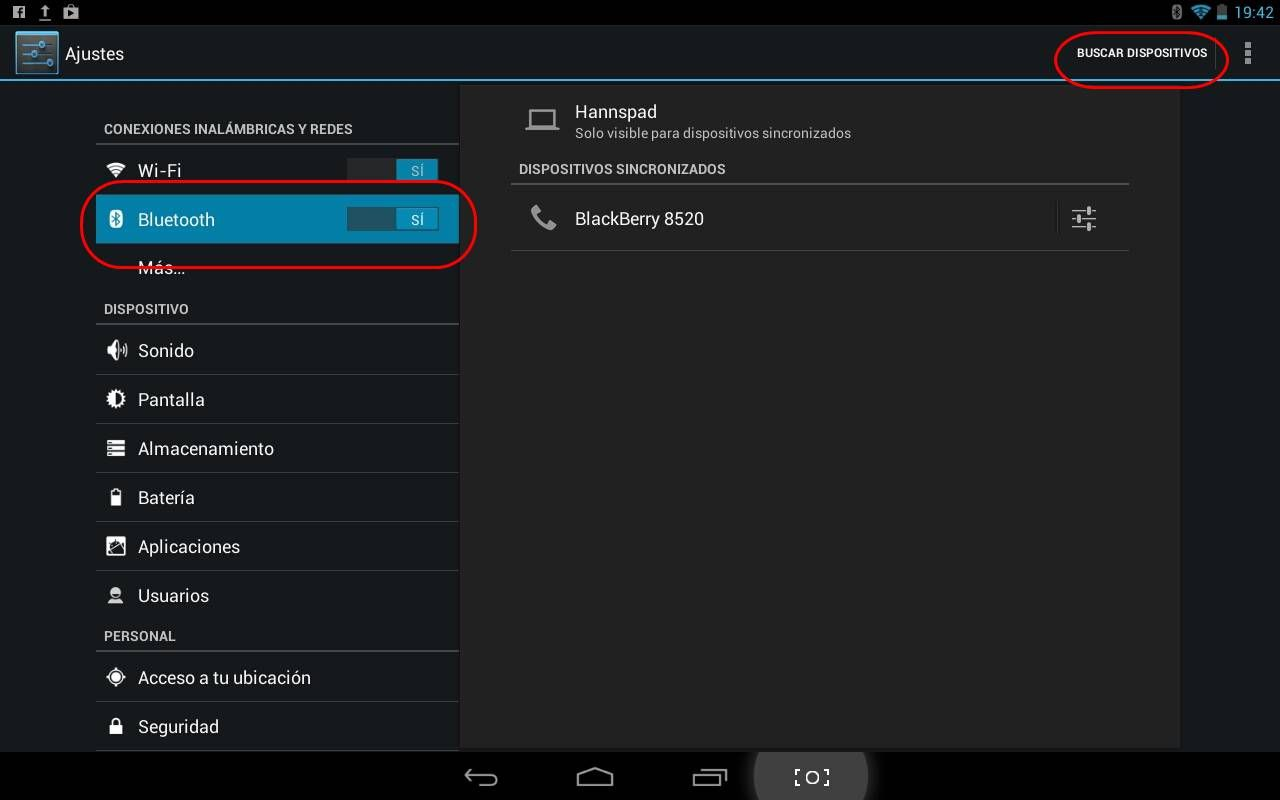 Buscar dispositivos con Bluetooth en una tablet