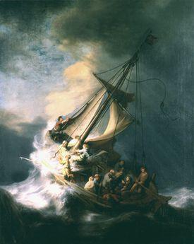 Jesús calma la tormenta en el mar de Galilea por Rembrandt