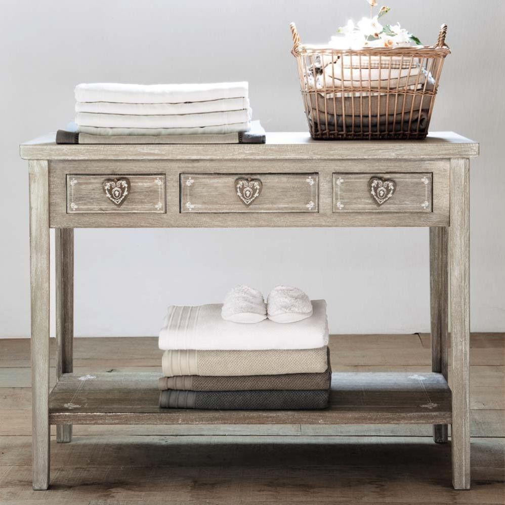 Mueble con cajones, teñido en en color arena