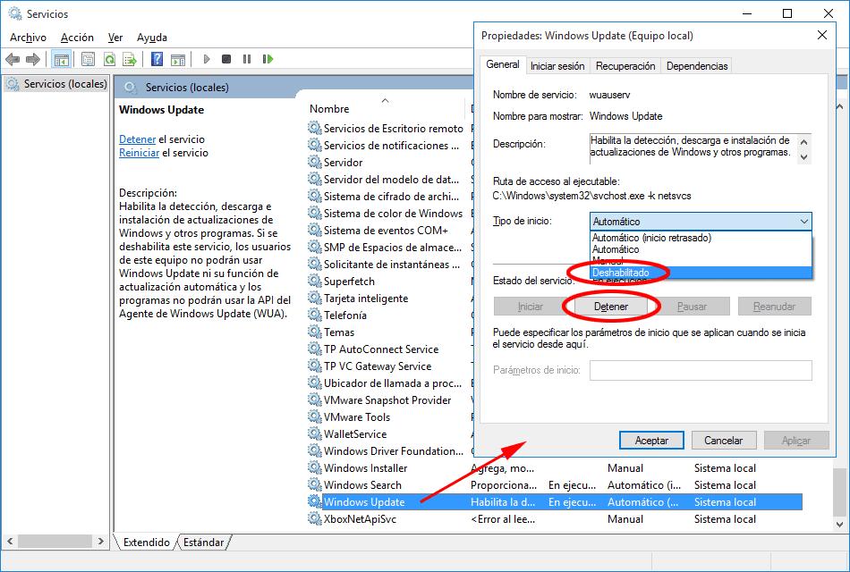 Desactiva las actualizaciones deteniendo Windows Update