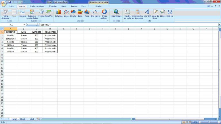 Crear en tu hoja de Excel una tabla dinámica.