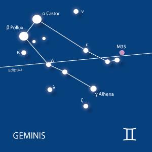 geminis, cástor, pólux, constelaciones, telescopios