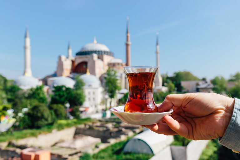 Drinking Turkish tea with view of Hagia Sophia in the background