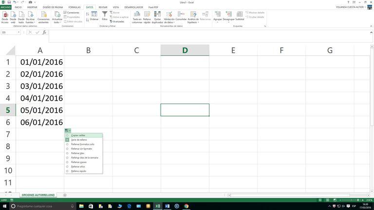 Autorrrelleno en Excel
