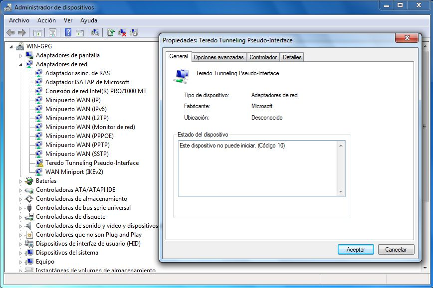 teredo tunneling pseudo-interface driver download win7