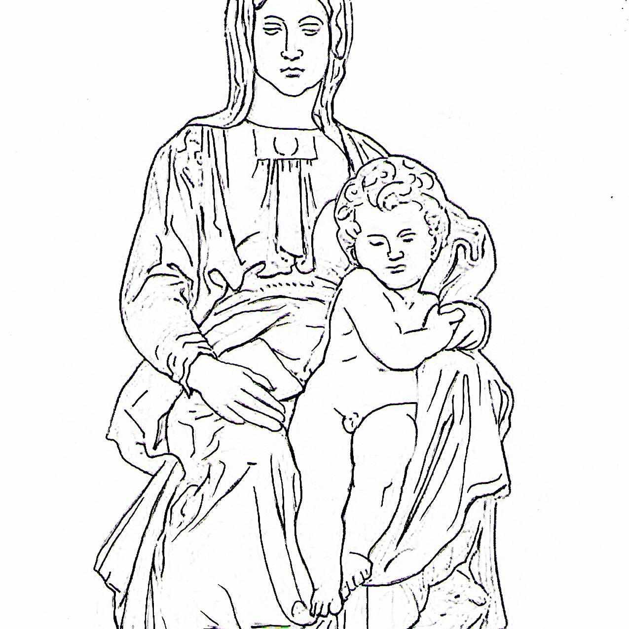 Dibujo de la Virgen de Brujas de Miguel Ángel