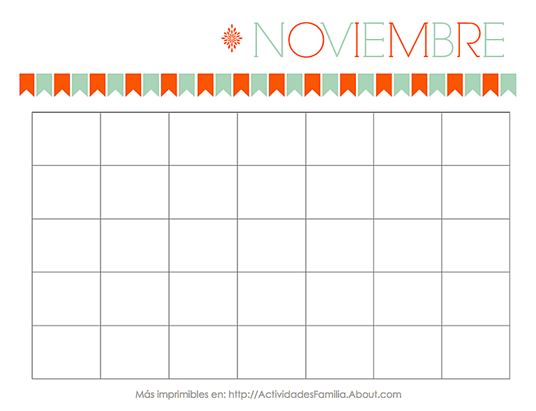 Calendario Noviembre Personalizable