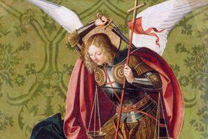San Miguel mata al dragón por Josse Lieferinxe (Maestro de San Sebastián)
