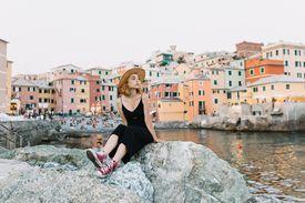 Young female tourist resting in Genoa