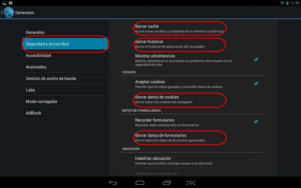 borrar historial de navegador Android