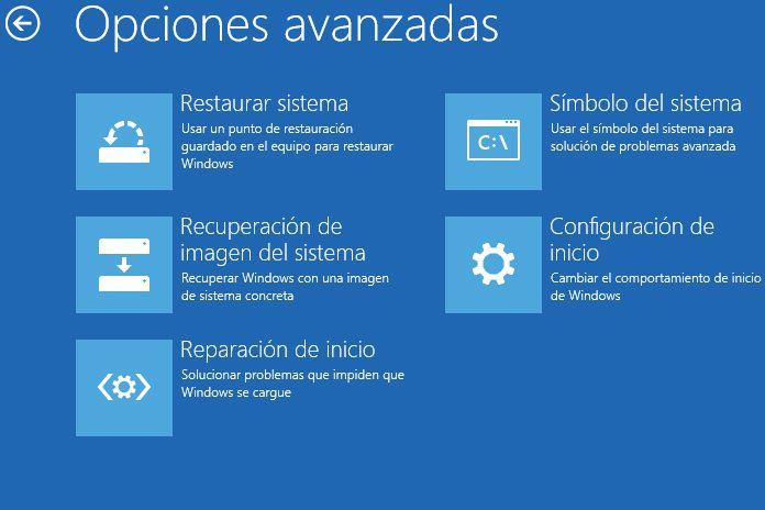 Opciones arranque avanzadas Windows 10
