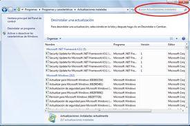 Quitar Actualizaciones Windows 7