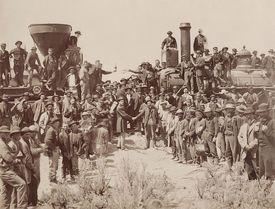 Celebración del primer tren transcontinental en 1869