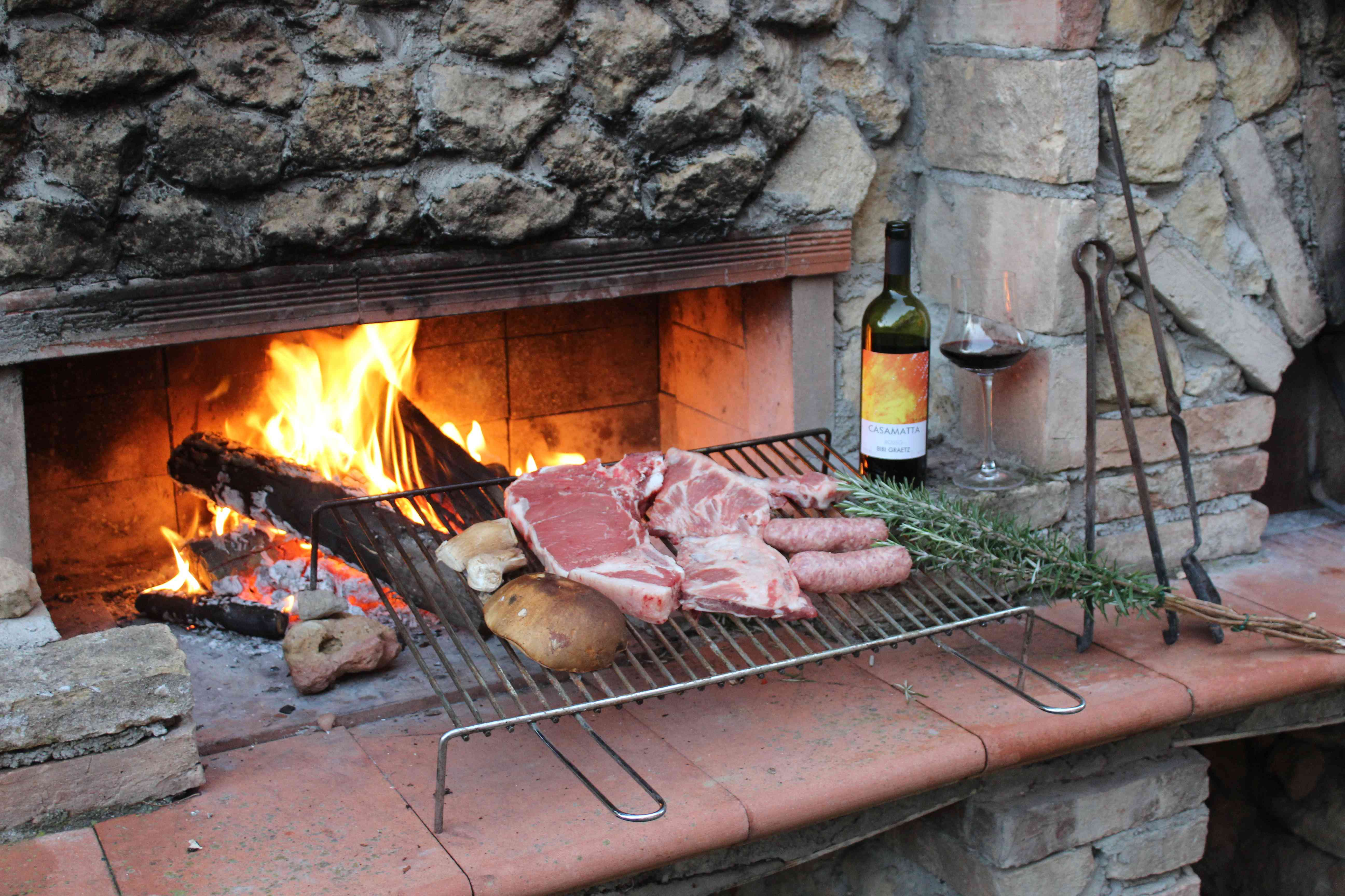 Meat, rosemary and wine