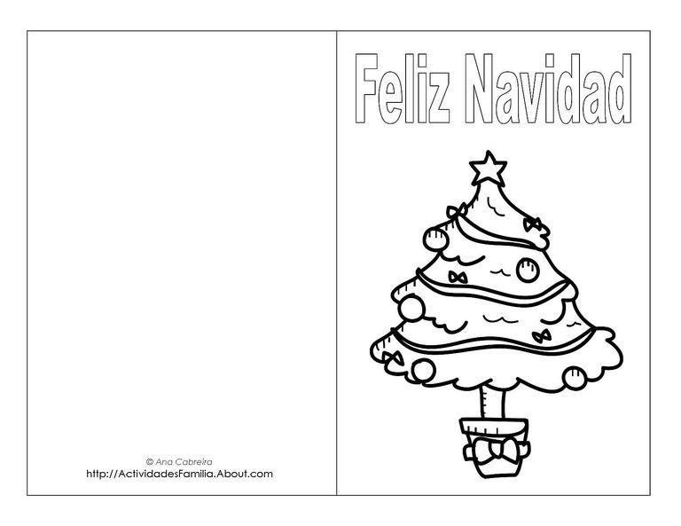 Tarjetas de navidad para imprimir y colorear - Dibujos tarjetas navidenas ...