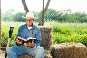 Un hombre mayor está sentado en un pajar en un rancho, sosteniendo y leyendo una Biblia.