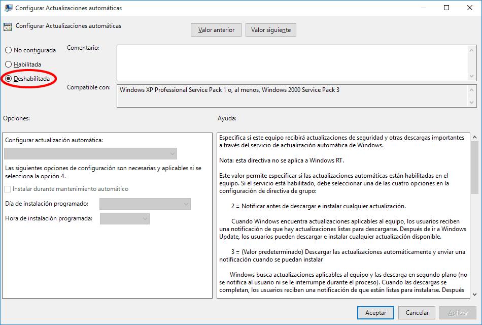 Configura las actualizaciones para deshabilitarlas