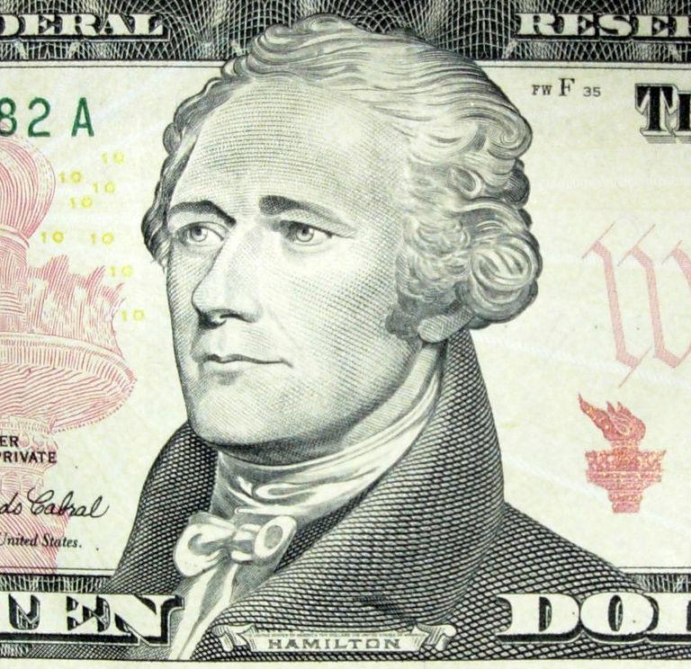 Detalle de un billete de 10 dólares